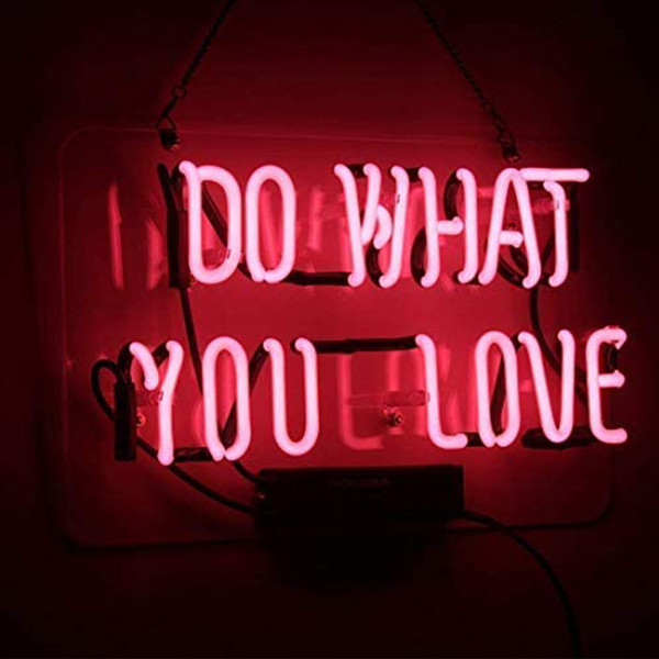 top popular Neon Sign Do What You Love Pink Neon Light Glass Night Light for Kids Bedroom Office Bar Christmas Party Decor Wall Light 14 x 9 Inch 2021