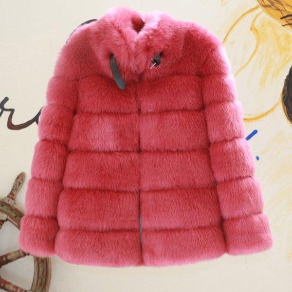 cappotto di pelliccia rosa porpora