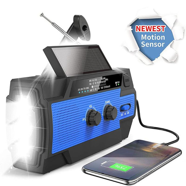 top popular New Hand Crank Radio Multi Portable Emergency Solar Radio Built-in Battery with Motion Sensor Reading Lamp Cell Phone Charger 2021