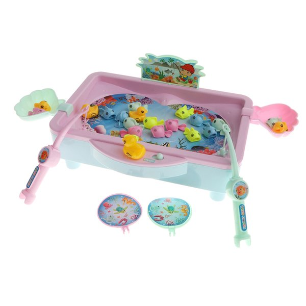 best selling 32Pcs Baby Magnetic Fishing Toy Vivid Fish Model Playset & Electric Revolving Fish Musical Pool Early Developmental Game