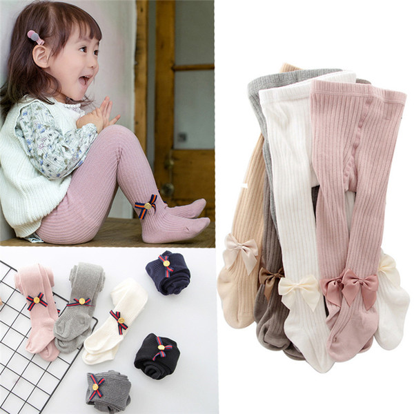 top popular YWHUANSEN 0-10 Yrs Children Spring Autumn Winter Bowknot Tights Cotton Baby Girls Pantyhose Kids Infant Knitted Collant Tights 2021