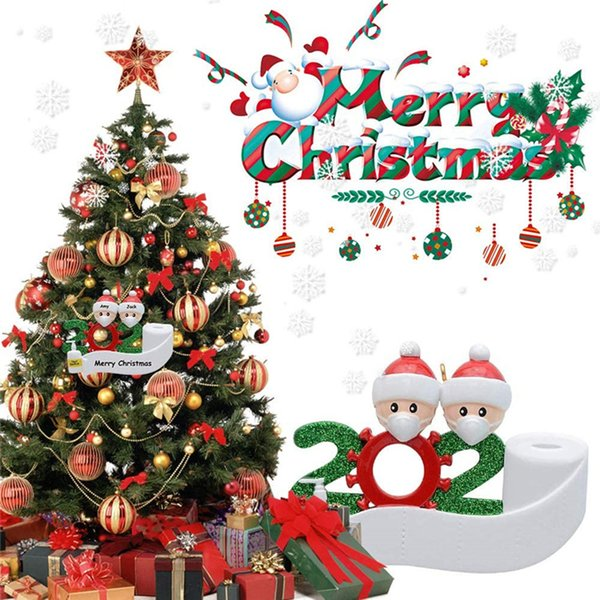 top popular 2020 Christmas Ornament Personalized Survivor Family 2 3 4 5 6 7 PVC Decorations Masked Hand-washed Christmas Tree Hanging Pendant 2020