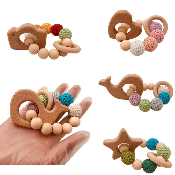 best selling DIY baby molar toys handmade crochet yarn beads teether toys beech wood animal bracelet baby toys