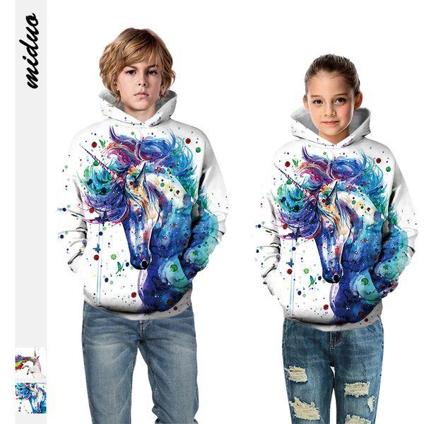 top popular New European And American Rainbow Horse 3D Digital Printing Children's Sweater Men's And Women's Sports Baseball Uniform Oversized Top 2021