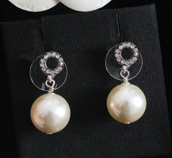 best selling Have stamp fashion MINI letter diamond pearl earrings aretes orecchini for women party wedding lovers gift jewelry engagement with box