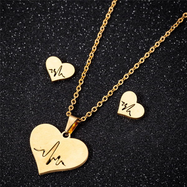 top popular Stainless Steel Love Heart Necklace Women Gold Heartbeat Stud Earrings Jewelry Sets for Girls Wedding Jewelry 2021