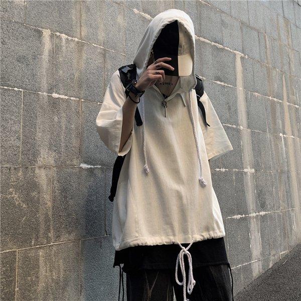 Воротник P-w02 с капюшоном с коротким рукавом белый