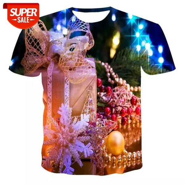 best selling New T-shirt men's high-quality men's and women's T-shirt Christmas short sleeve 3D printing Christmas holiday #FY0D