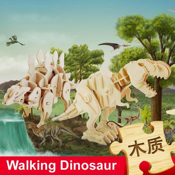 top popular Free shipping 3D Puzzle DIY Walking Trex Dinosaur 3D Wooden Craft Kit Puzzle for Kids Sound Control Robot T-Rex Model Kits 2020