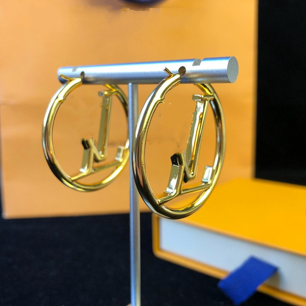 top popular 2021 Hot Sale Fashion gold hoop earrings for lady Women Party earring New Wedding Lovers gift engagement Jewelry for Bride 2021