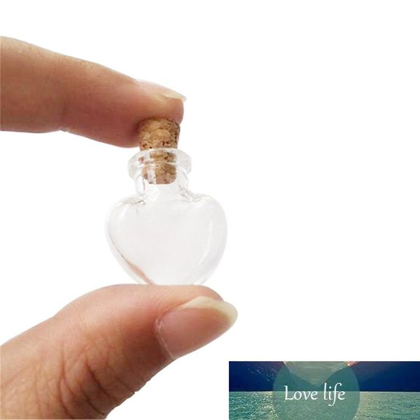 best selling Love Hearts Shape Mini Cute Glass Bottles Pendants Small Diy Bottles With Cork Transparent Clear Jars Gift Vial 100pcs Wholesale