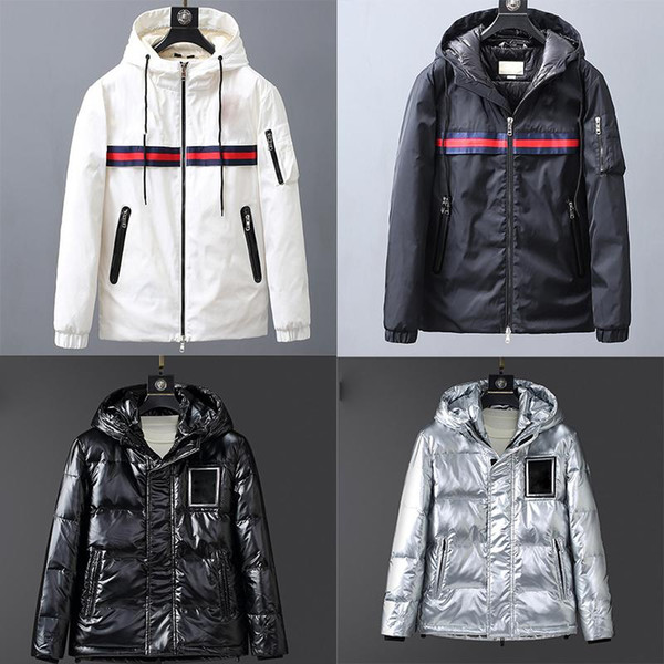 best selling Embroidery Letters Fashion Down Jacket Men Outdoor Warm Feather Winter Jacket down-filled Hooded Thick Coat Outwear black white Jacket Parka
