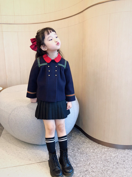 top popular Turn-down Collar Baby Girls Jacket Fashion Autumn Kids Girl Outdoor Clothing Children's Cute Fleece Outerwear 2021
