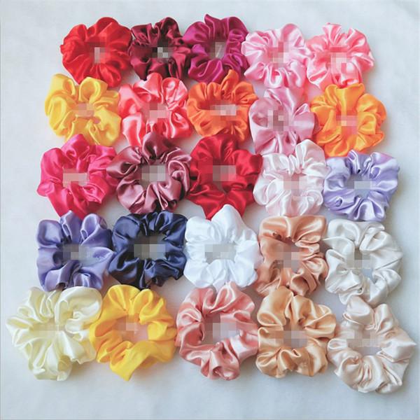 best selling Women Silk Scrunchie Elastic Handmade Multicolor Hair Band Ponytail Holder Headband Accessories epacket 70 colors