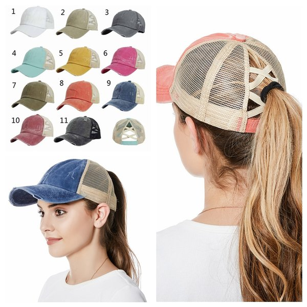 top popular Women Hats Baseball Cap Ponytail Washed Messy Bun Hats Snapback fashion cap Ball Caps Casual Summer Sun Visors Cowboy Hat Party Hats RRA4021 2021