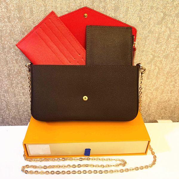 top popular 3 pcs set favorite multi pochette accessories women Crossbody Purse Messenger bags Handbags Flowers designer shoulder lady Leather with box 2021