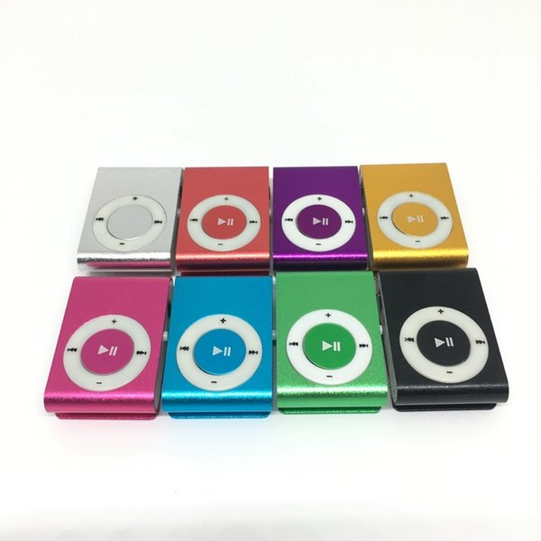 top popular NEW Fashion Mini Clip Mp3 Music Player without Screen - Support Micro TF SD Card Black Silver Green Pink Orange Purple Blue Red 2021