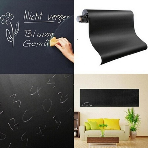 top popular Multifunction Blackboard Stickers Wall 45*200cm Removable Vinyl Erasable Learning Draw Mural Decor Art Chalkboard School Office Supplie 2021