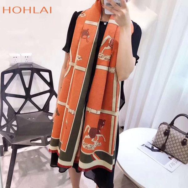 best selling Winter New Carriage Scarf Warm Shawl Thicken Tassels Horse cashmere-like fashion show poncho cape womens