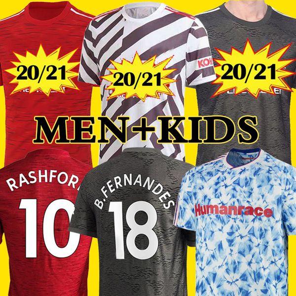 best selling Manchester 2020 2021 united UTD soccer jersey CAVANI VAN DE BEEK B. FERNANDES jerseys MARTIAL RASHFORD football shirts 20 21 man+kids kit