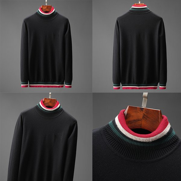 top popular Designer sweaters for Mens Thick Long Sleeve Top Autumn Spring fashion luxury clothing letter embroidery pullover Sweater black Coat jumper 2020