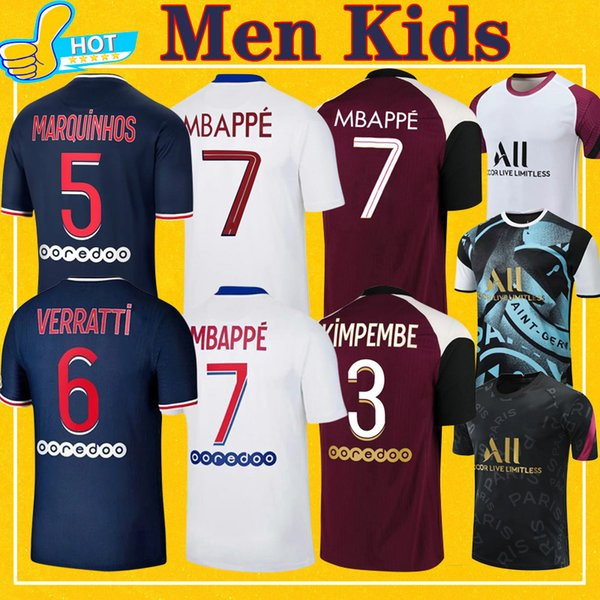 top popular MBAPPE VERRATTI KEAN Soccer Jersey 2020 2021 DI MARIA KIMPEMBE MARQUINHOS ICARDI Pre-Match Football Shirt 20 21 Men + Kids Kit 2021