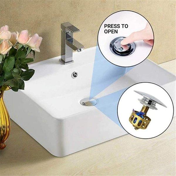 best selling US STOCK Universal sink wash basin bounce drain filter,Pop Up Bathroom Sink Drain Plug With Basket,Universal Size Sink Drain Stopper