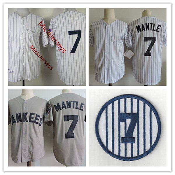 top popular Mens #7 Mickey Mantle Jerseys Stitched white grey Mickey Mantle retirement Patch baseball Jersey S-3XL 2021