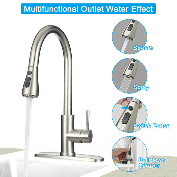 best selling Kitchen Faucet Stainless Steel Sink Faucet Single Hole Brushed Pull Out Sprayer