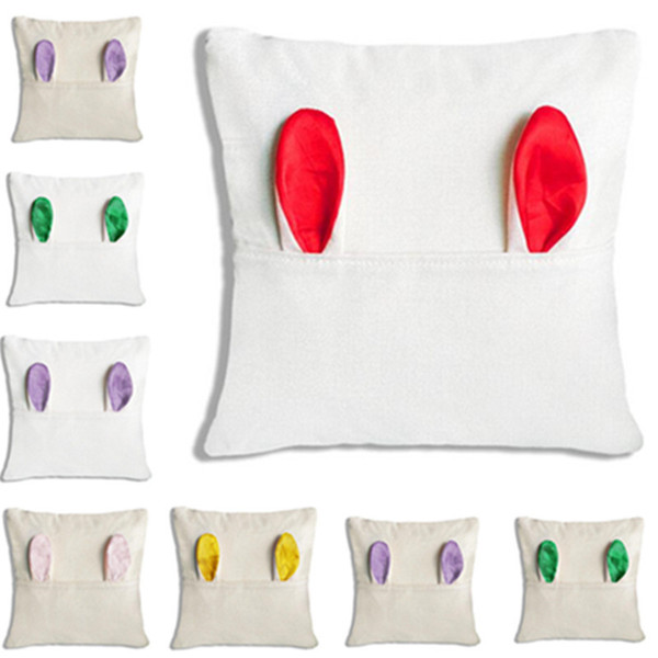best selling 2021 Sublimation Easter Linen Pillow Case DIY Heat Thermal Transfer Rabbit Ear Cushion Covers Sofa Home Pillow Cover Party Decoration LY2013