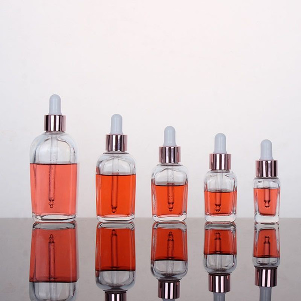 best selling Clear glass essential oil perfume bottles square dropper bottle with rose gold cap 10ml to 100ml OWF2384