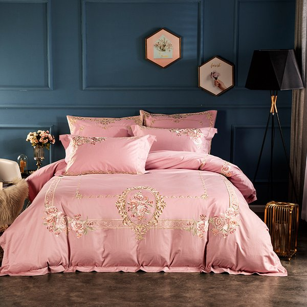 top popular 100S long-state cotton embroidered long-staple cotton four-piece bed sheet hotel duvet cover set 4 pcs per set luxuary embroidery decration 2021