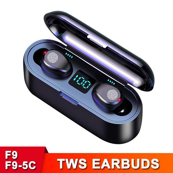 best selling F9 2000mAh F9-5C 1200mAh Power Bank TWS Earphones Wireless Bluetooth V5.0 Headphones HiFi Stereo Headsets LED Display in-ear Earbuds