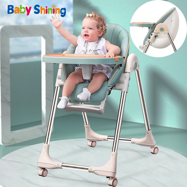 top popular Baby Shining Baby Chair PU Seat High Chair Upgraded Wheel Thickened Pipe Foldable Egg Feeding Chair Table Baby Multi-functional LJ201110 2021