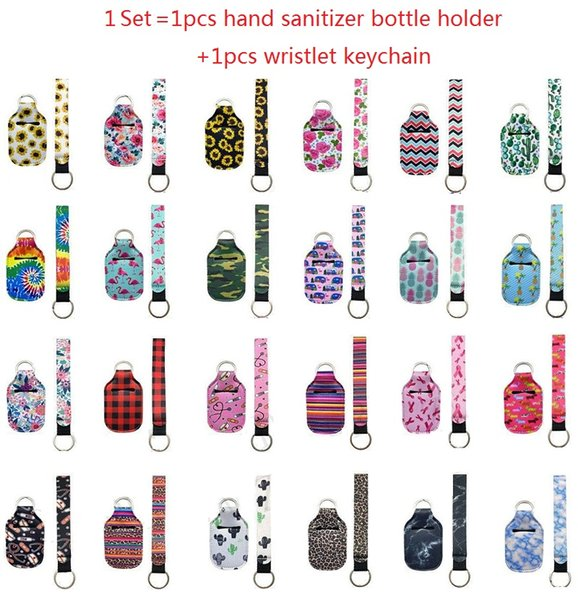 best selling 1 Set=2pcs Neoprene Hand Sanitizer Bottle Holder Keychain Wristlet Keychain Matching delivery 30ml Hand Sanitizer Bottl Chapstick Holder
