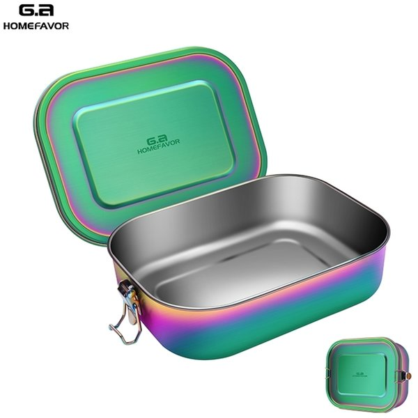 best selling Lunch Bento Box New Food Container 304 Stainless Steel Snack Storage Box Kitchen School Office Big Box 201210
