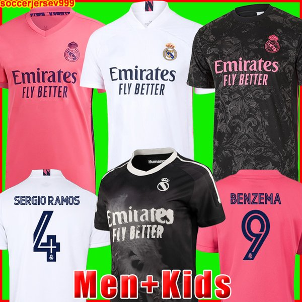 top popular REAL MADRID jerseys 20 21 soccer football shirt HAZARD SERGIO RAMOS BENZEMA ASENSIO camiseta men + kids kit 2020 2021 fourth 4th HUMANRACE 2021