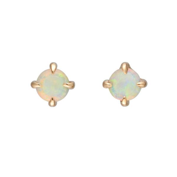 Februaryfrost Brand Small Round White Fire Opal Stud Earrings for Women Gold Filled Cute Korean Earrings 2019 Fashion Jewelry Wedding Earing