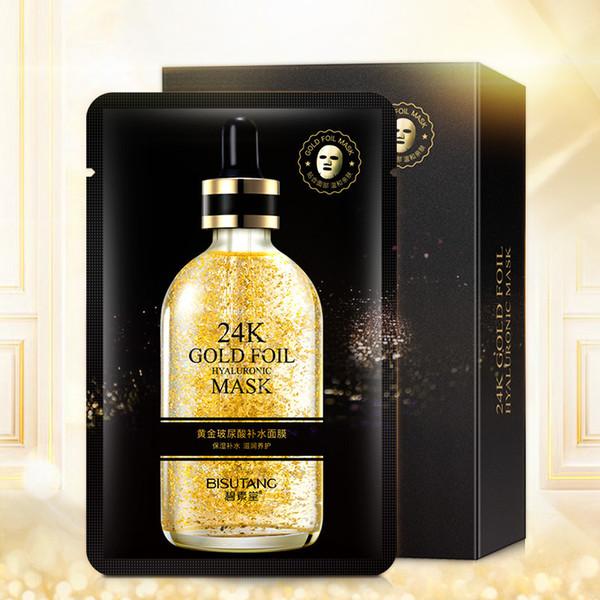 top popular 24K gold foil Fade uneven tone Lighten pockmarks Pore Cleaner Black Face Skin Care Delicate skin Easy absorb Wholesale face masks 2021