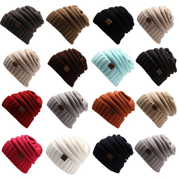 best selling Knitted Hat Beanies Hat Women Warm Winter Simple Style Chunky Soft Stretch Men Knitted Beanie Skull Hats 15 Colors Wholesale