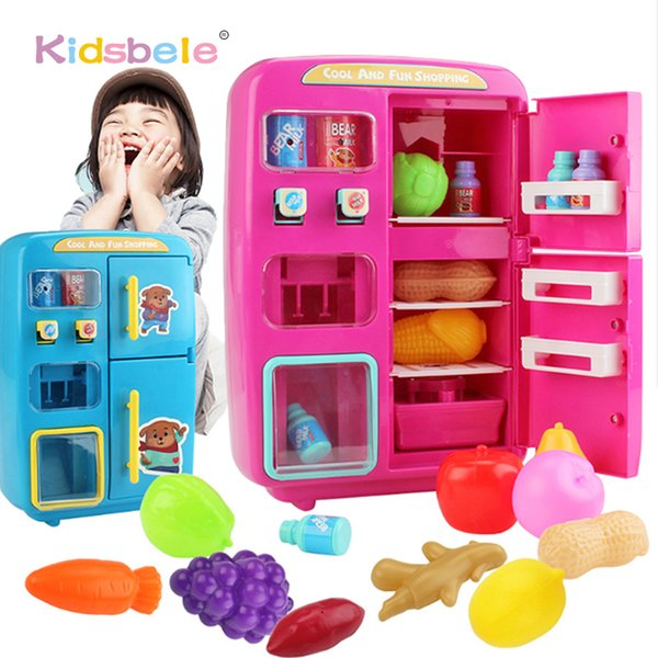 best selling Children Pretend Play Toys Simulation Double Refrigerator Vending Machine Toys Kids Kitchen Food Toy Mini Play House Girls Toys 201021