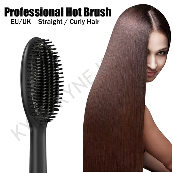 best selling Dropship 9HD Professional Hot Brush Fast Hair Straightener Comb Hair Electric Brush Comb Irons With Retail Box