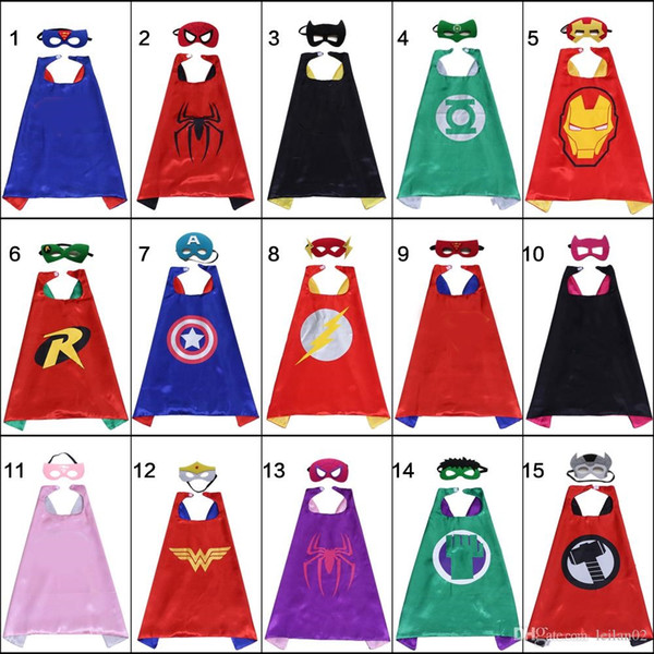 best selling Double layer cosplay cape mask set for kids 70*70cm Satin Halloween child party favors