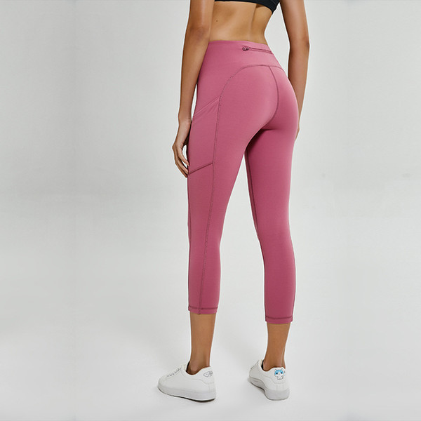 best selling New European and American Hip Lifting Yoga Pants Women's High Waist Hip Lifting Elastic Tight Pocket Sports Running Fitness Suit