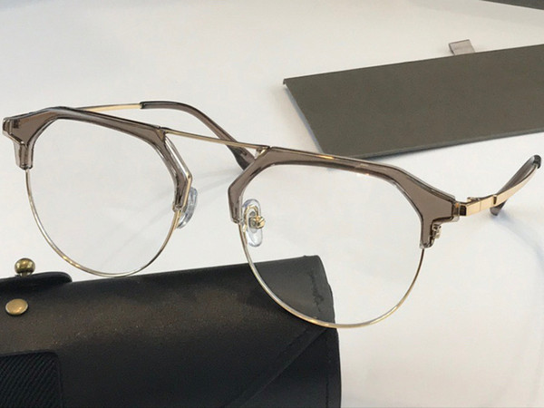 brown gold frame transparent lens