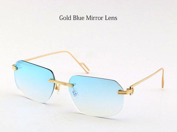 عدسة مرآة ذهبية زرقاء