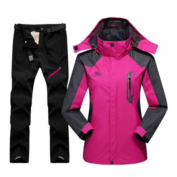 best selling 2020 For Women Outdoor Waterproof Windproof Ski Jacket Pants Winter Snow Skiing Fleece Jackets Women's Snowboard Suit