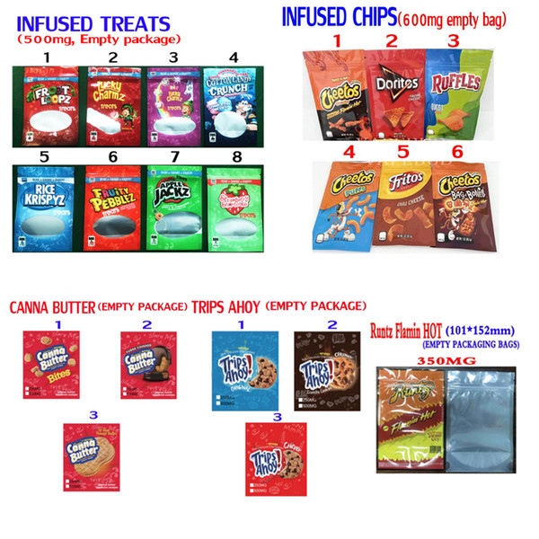 best selling INFUSED CHIPS CEREAL TREATS RUNTZ FLAMIN HOT CANNA BUTTER TRIPS AHOY MEDICATED EDIBLES PACKAGING MYLAR BAGS COOKIES BAGS PACKAGING PEANUT