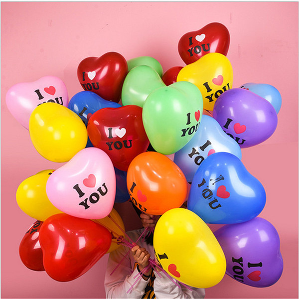 top popular 100pcs lot Heart Shape Balloon 12 Inch Valentines Day Decorative Balloon for Wedding Party I LOVE YOU Letters Balloons Supplies E122310 2021