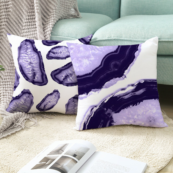 top popular Skin Purple Peach Geometry Plush Series Pillow Case Ins Nordic Style Square Sofa Pillow Case Household Products 2021